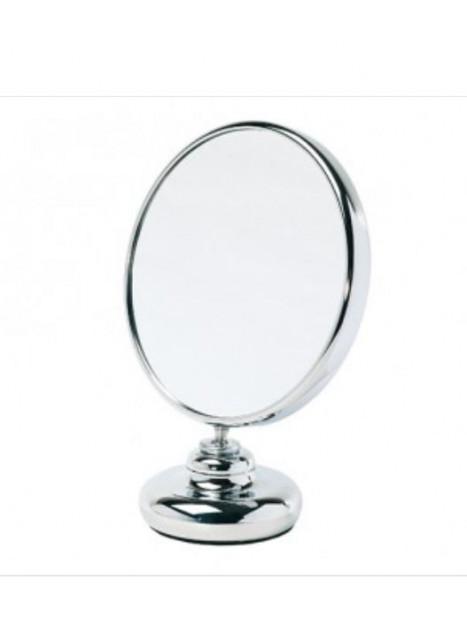 Miroir double face diamètre 15 cm sur pied face grossissante x5 Zingus