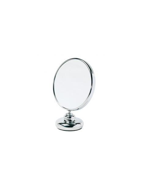 Miroir double face diamètre 15 cm sur pied face grossissante x10 Zingus